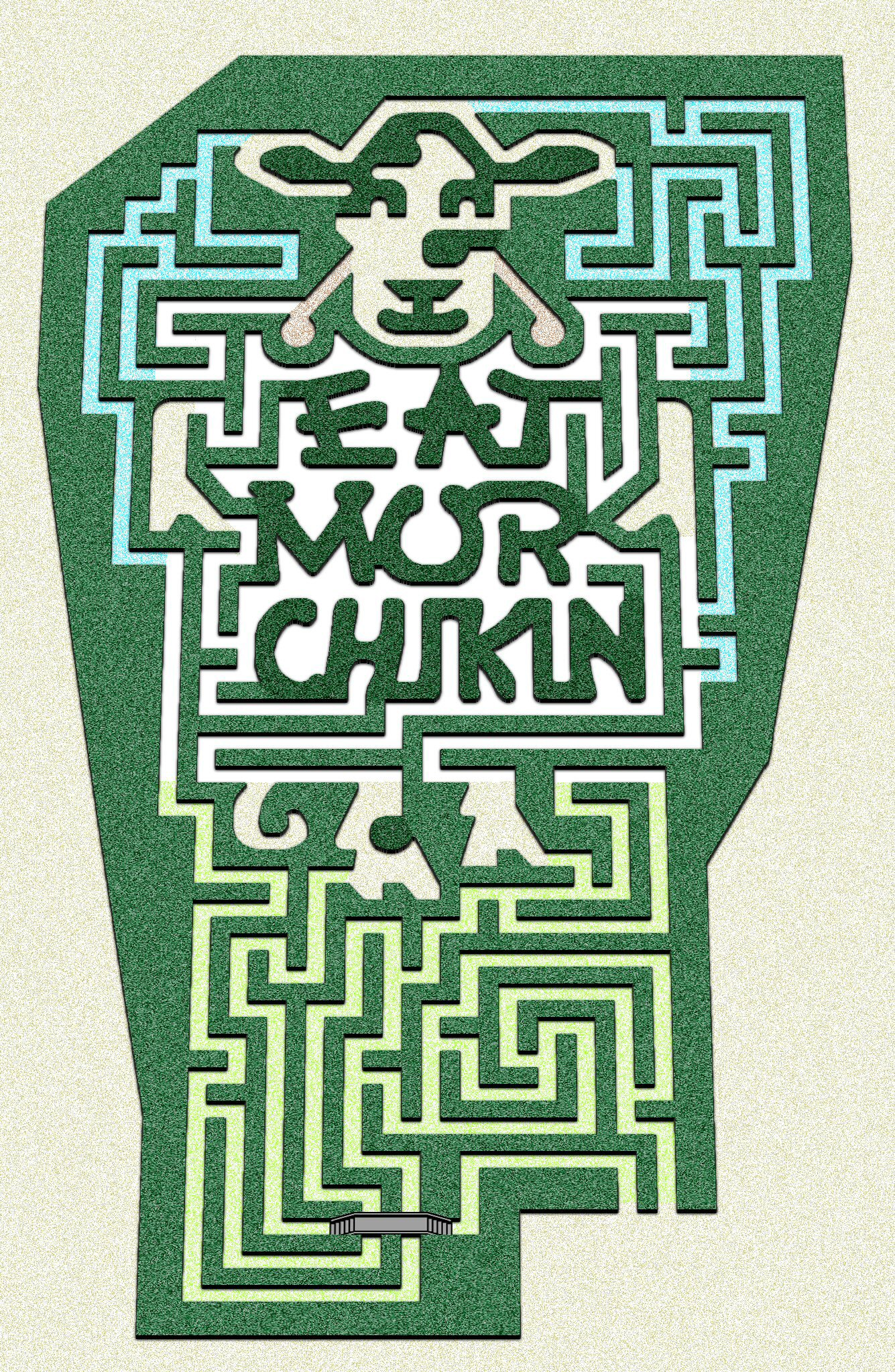 "Image of a Chik-fil-a themed corn maze that reads ""Eat Mor Chikn"""